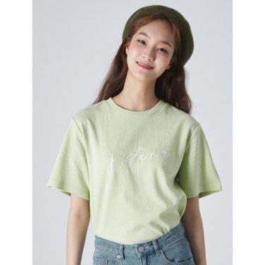 여성 애플그린 솔리드 이중지 레터링 엠브로이더리 반소매 티셔츠 (329742LZ2K