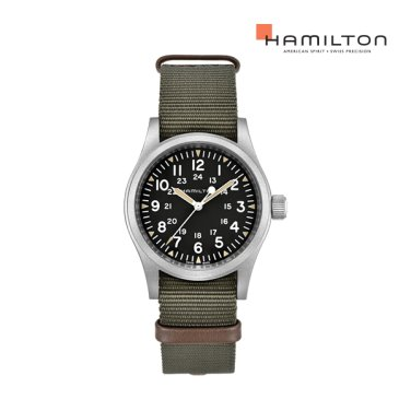 H69429931 카키 필드 메카니컬 38mm 블랙 다이얼 카키 나토 스트랩 남성 시계