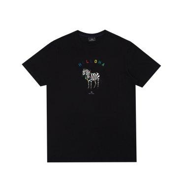 폴스미스 남성 슬림 핏 알로하 지브라 티셔츠 건대점 Black