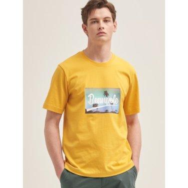 머스터드 포토 프린트 반소매 티셔츠 (BC9442C22G)