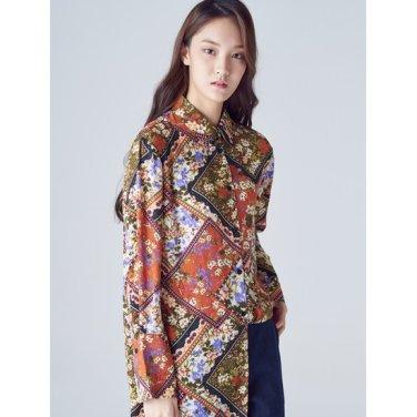 여성 브릭 플로럴 슬릿 커프스 롱 셔츠 (118864WYDC)