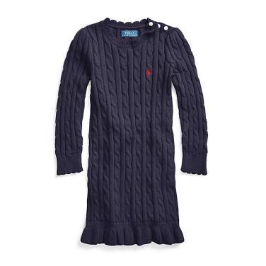 폴로 랄프 로렌 베이비 케이블 코튼 스웨터 드레스(CWPODRSO3E10036B82)