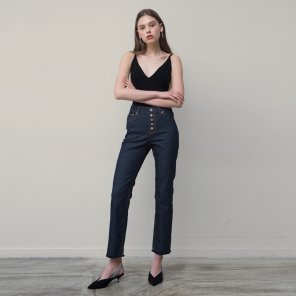 Button Fly Cropped Jeans (Navy)