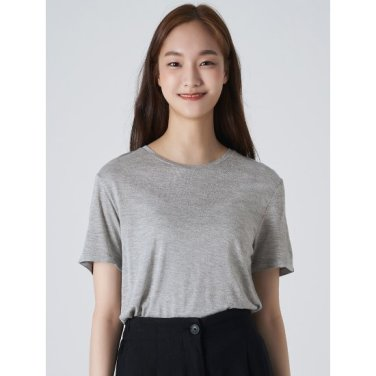 여성 그레이 베이직 라운드넥 반소매 티셔츠 (329742LY43)