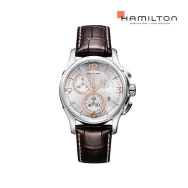 H32612555 재즈마스터 쿼츠 크로노 42mm 실버 / 브라운 가죽 남성 시계