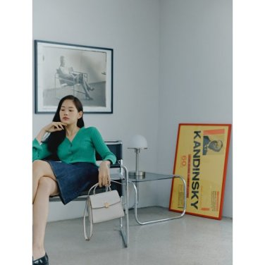 [김민정 착용](여) 아이보리 블링 라지 사첼백 (BE91D3P010)