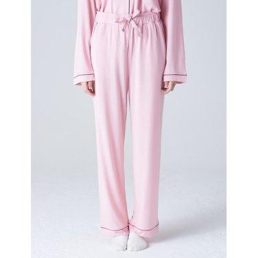 여성 [파자마 시리즈] 라이트 핑크 파이핑 파자마 팬츠 (158921SYAY)