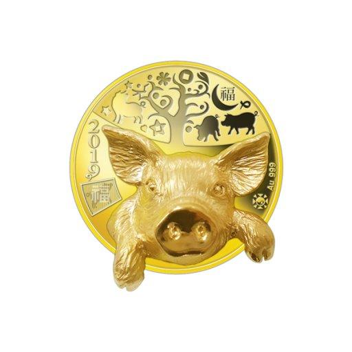 2019 입체형 황금돼지 기념 금메달 - 옐로우
