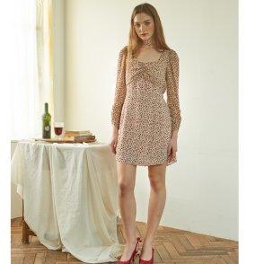 [살롱드욘] Chiffon Sleeve Square Neck Dress 3COLOR (19YOHN14E)
