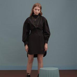 블랙 셔츠 버튼 드레스